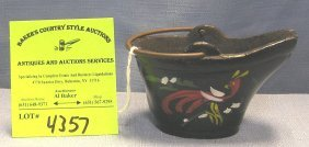 Hand Painted Cast Iron Miniature Coal Bucket