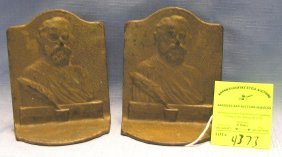 Iron Bookends Featuring Henry W. Longfellow