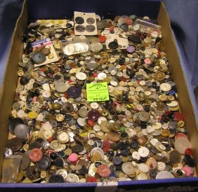 Large Box Full Of Antique And Vintage Buttons