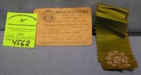 Early Masonic I.d. Card And Ribbon