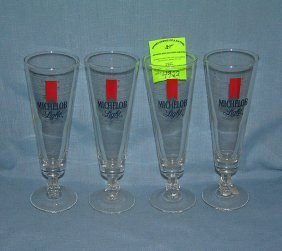 Group Of Four Vintage Michelob Light Beer Glasses