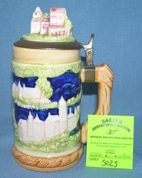 Vintage Porcelain Beer Stein With Figural Porcelain Lid