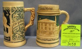 Pair Of Vintage German Beer Steins