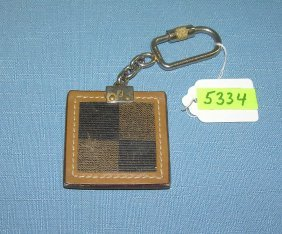 Fendi Of Italy Designer Leather And Metal Key Chain