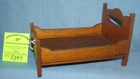 Miniature Salesman Sample Oak Bed Circa