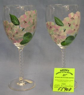 Pair Of Floral Design Stemware Wine Glasses