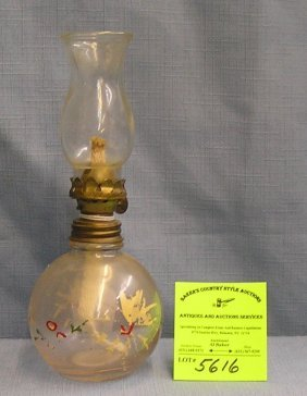 Early Hand Painted Oil Lamp