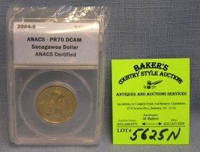 2004 S Sacajewa Gold Dollar Coin Graded Pr 70