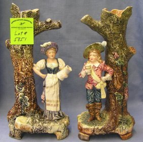 Pair Of High Quality Majolica Figurines