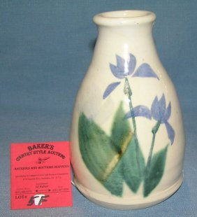 Hand Painted And Glazed Earthenware Vase