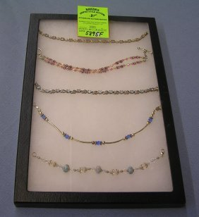 Group Of Sterling Silver Semi Precious Stone Bracelets