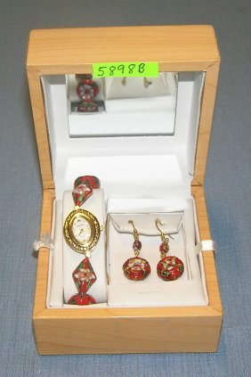 Gruen Cloisonne Wrist Watch And Earring Set