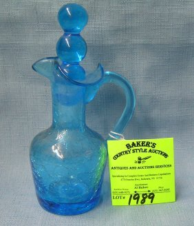Hand Blown Crackle Glass Miniature Pitcher