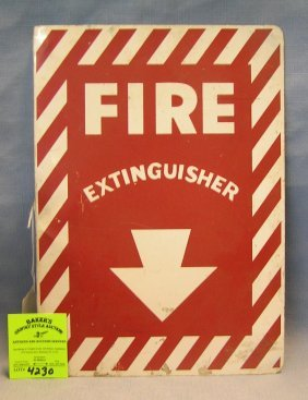 Vintage Metal Double Sided Fire Extinguisher Sign