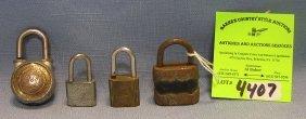 Group Of Four Vintage Padlocks