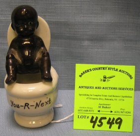 Black Americana Child On Potty Figural Match Holder