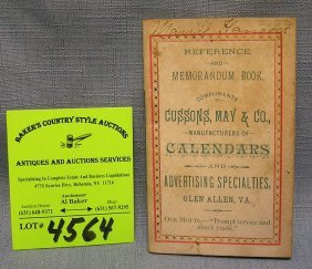 Cussons, May & Co. Advertising Note Booklet Dated 1898