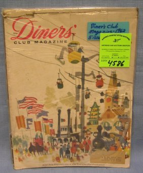 Group Of Early Diner's Club Magazines Circa 1960's