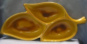 Large Vintage Art Pottery Condiment Three Sectional