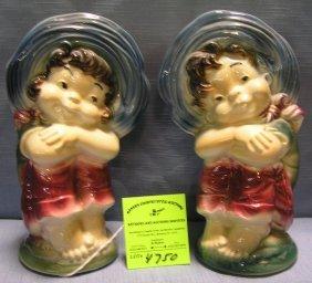 Pair Of Vintage Art Pottery Figural Flower Vases