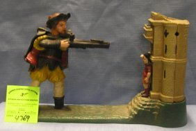 Vintage All Hand Painted Cast Iron William Tell Bank