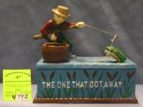 The One That Got Away Fishermen Mechanical Bank