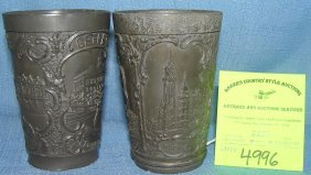 Pair Of Early Swedish Pewter Souvenir Drink Cups