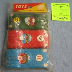Early Tin Toy Race Cars Mint In Original Package