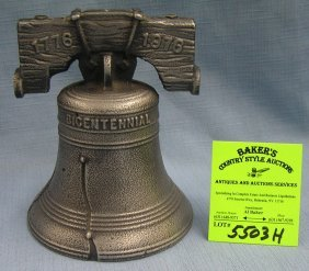 Vintage All Cast Metal Bicenntenial Liberty Bell Bank