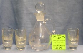 Etched Glass Decanter Set