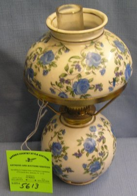 Vintage Floral Decorated Oil Lamp With Matching Shade