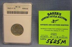 Vintage All Silver 1942 P Jefferson Nickel
