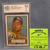 Grd10 mint M Mantle reprint rookie baseball card