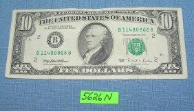 Vintage Old Style Small Portrait Us Ten Dollar Bill