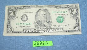 Vintage Old Style Small Portrait Us $50 Bill