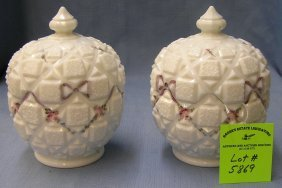 Pair Of Floral Hand Painted Milk Glass Covered Jars