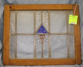 Antique Stained Glass Framed Window Panel