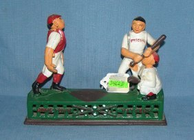 Hand Painted Cast Iron Baseball Mechanical Bank
