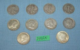 Group Of Early Us Silver Half Dollar Coins
