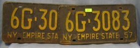 Pair Of Early Ny License Plates Dated 1957