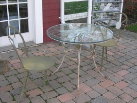Antique Wrought Iron Glass Top Table W/ 2 Chairs