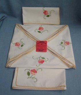 Set Of 6 Hand Stitched Floral Napkins