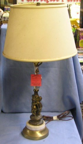 Crystal And Marble Figural Table Lamp