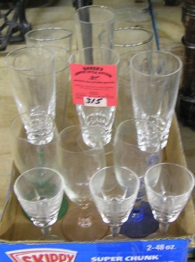Box Of Vintage Glass And Crystal Stemware