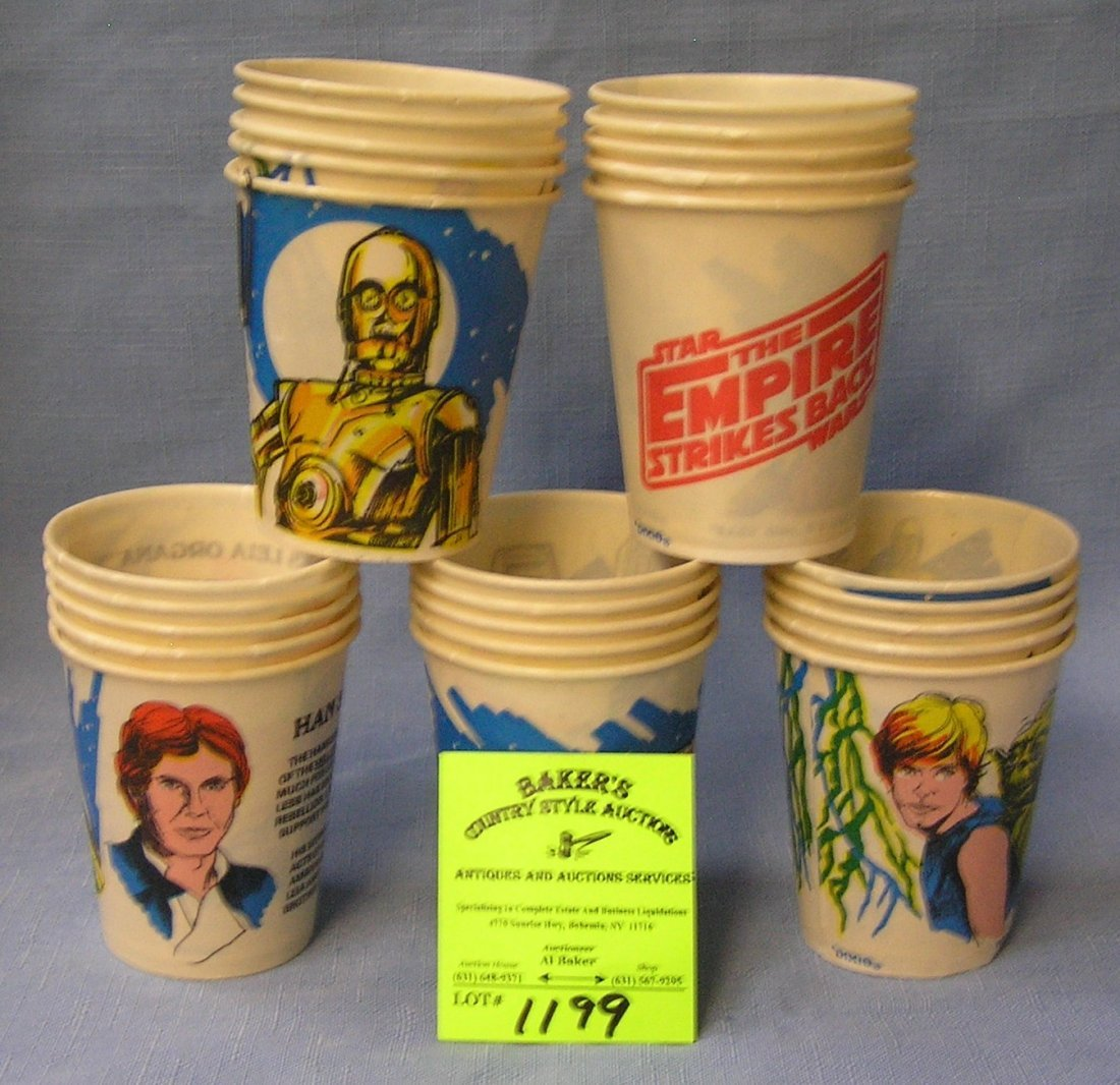 Shoe box full of vintage Star Wars Dixie cups
