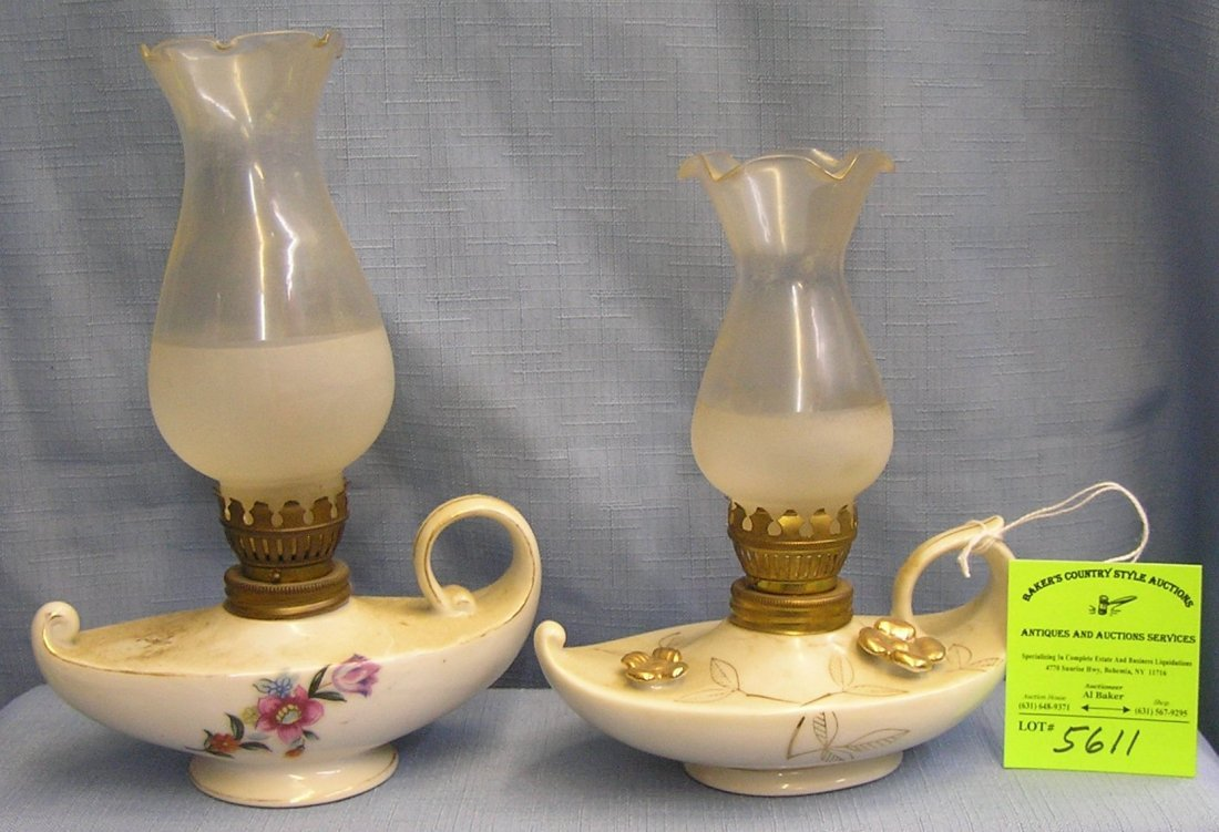 Pair of vintage Aladdin shaped oil lamps