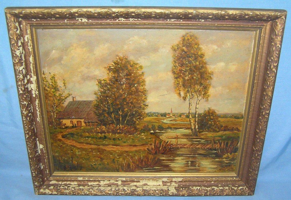Artist signed landscape oil painting