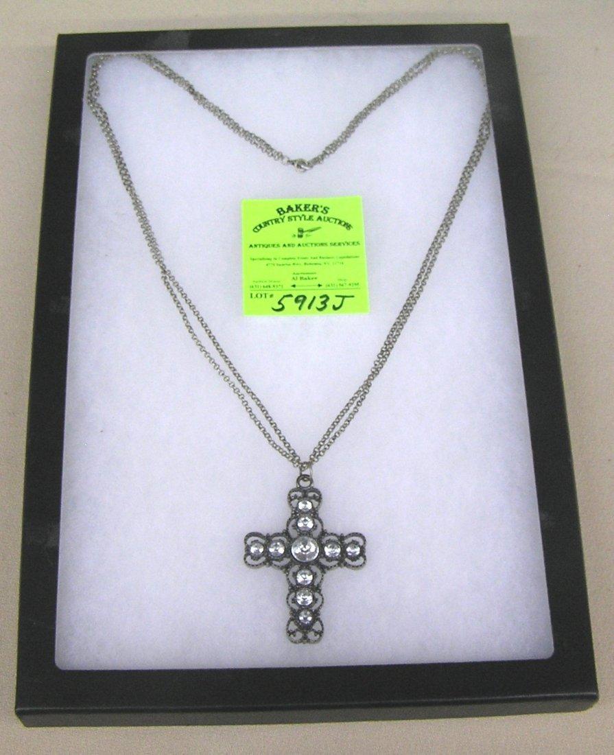 Vintage cross necklace with semi precious stones