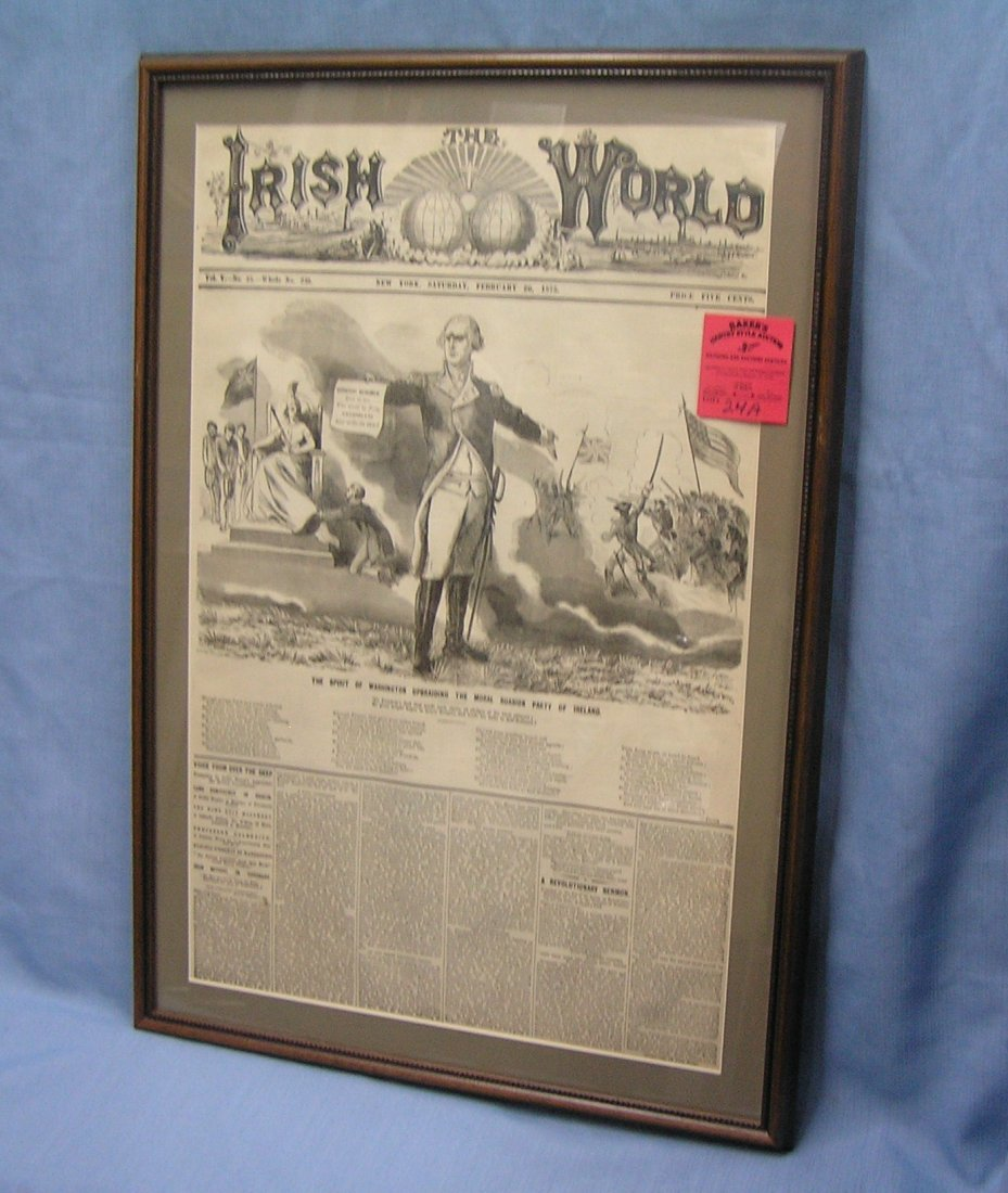 Early Irish World framed newspaper dated 1875