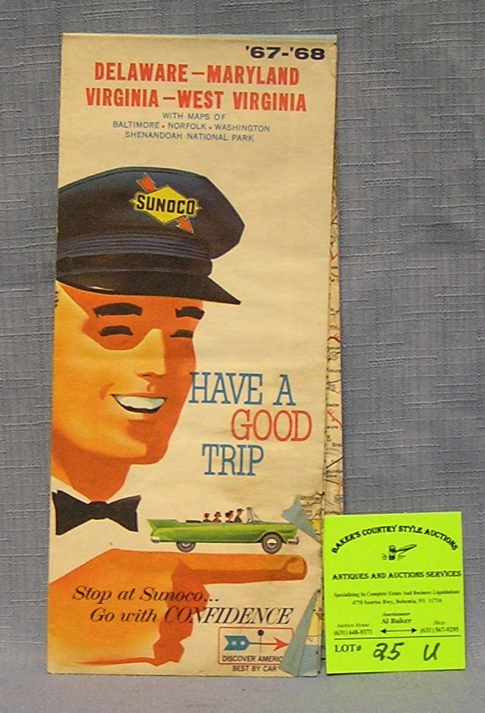 Vintage Sunoco advertising road map